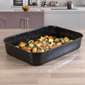 Russell Hobbs COMBO-2132 Romano Vitreous Enamel Deep Roaster and Baking Tray Set, 42/40 cm, Black Thumbnail 5