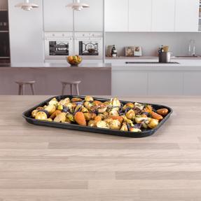 Russell Hobbs COMBO-2132 Romano Vitreous Enamel Deep Roaster and Baking Tray Set, 42/40 cm, Black Thumbnail 6