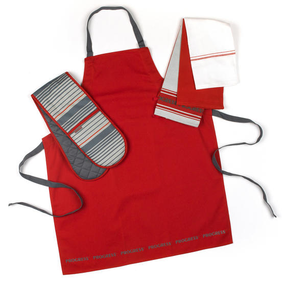 Progress Manhattan Performance Oven Glove and Tea Towel Set with Professional Apron, Red