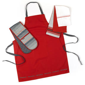 Progress Manhattan Performance Oven Glove and Tea Towel Set with Professional Apron, Red Thumbnail 1