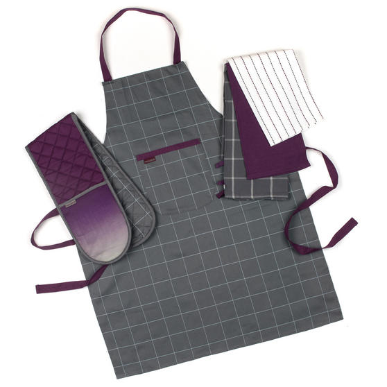 Progress Ombre Performance Oven Glove and Tea Towel Set with Apron, Grey / Purple