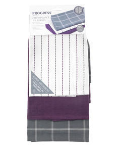 Progress Ombre Performance Oven Glove and Tea Towel Set with Apron, Grey / Purple Thumbnail 4