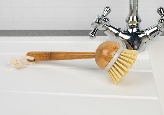 Beldray Bamboo Dish and Kitchen Cleaning Brush Set, 22 cm / 10 cm, Brown Thumbnail 3