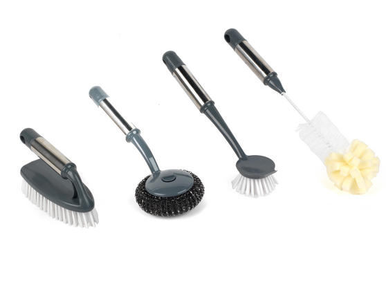 Beldray Cleaning Brush Set with Scourer, Dish Brush, Bottle Brush and Scrub Brush