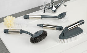 Beldray COMBO-2142 Kitchen Dish Brush with Scraper, Scrubbing Brush, Bottle Brush and Steel Brush Set, 4 Piece Thumbnail 2