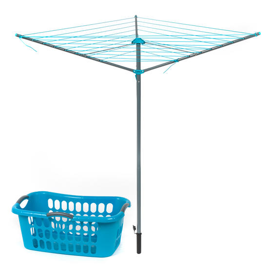Beldray Hip Hugger Laundry Basket and Outdoor Clothes Airer Set Thumbnail 1