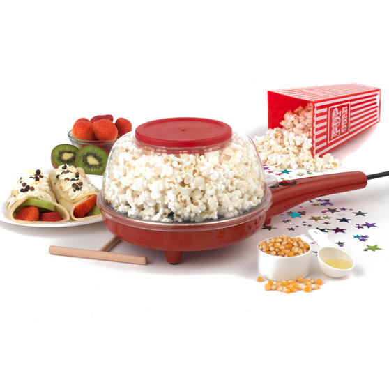 American Originals EK2349AR 2-in-1 Popcorn and Crepe Maker, Red