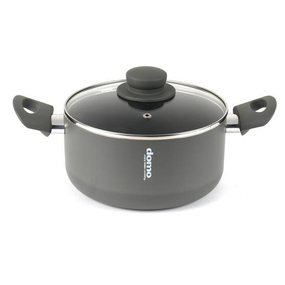 Domo 1406505 Cucina Italiana Casserole Pan with Glass Lid, 20 cm, Black