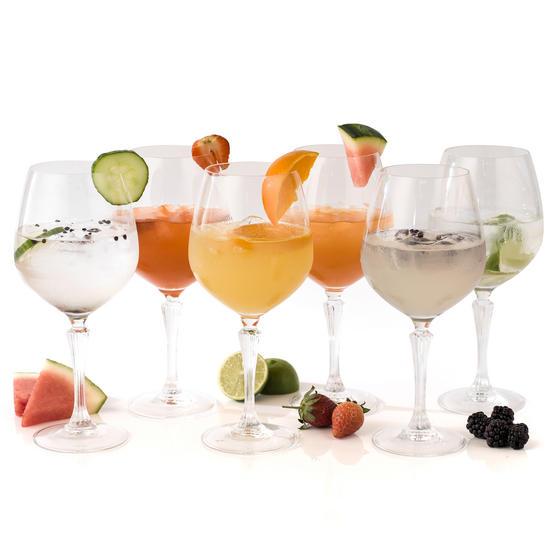 RCR 26315020006 Glamour Burgundy Balloon Gin Glasses, Pack of 6