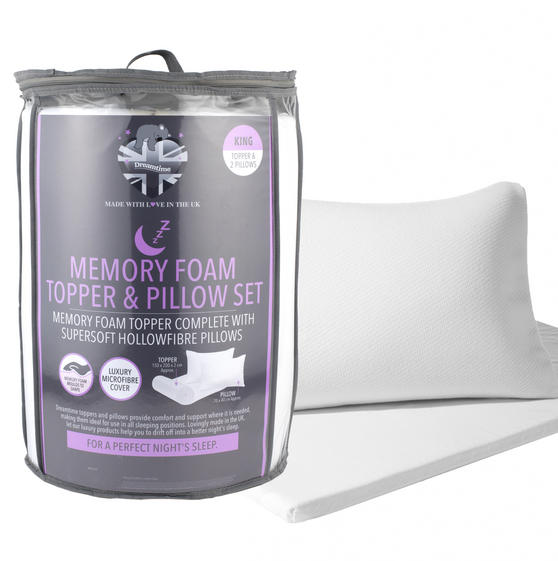 Dreamtime MFDT14219ARGMIL Memory Foam Mattress Topper and Pillow Set, King Size