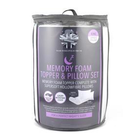 Dreamtime MFDT14219ARGMIL Memory Foam Mattress Topper and Pillow Set, King Size Thumbnail 2