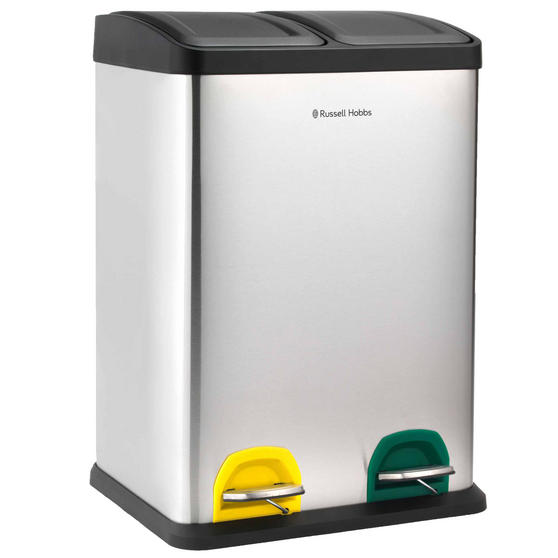 Russell Hobbs RH00140 Kitchen Recycle Waste Separation Bin, 2 Sections, 40 Litre, Stainless Steel