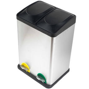 Russell Hobbs RH00140 Kitchen Recycle Waste Separation Bin, 2 Sections, 40 Litre, Stainless Steel Thumbnail 2