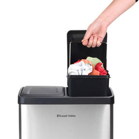 Russell Hobbs RH00140 Kitchen Recycle Waste Separation Bin, 2 Sections, 40 Litre, Stainless Steel Thumbnail 4
