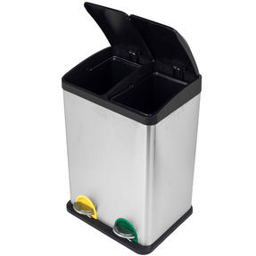 Russell Hobbs RH00140 Kitchen Recycle Waste Separation Bin, 2 Sections, 40 Litre, Stainless Steel Thumbnail 6