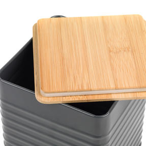 Russell Hobbs RH00288G Embossed Square Bread Bin with Bamboo Lid, Grey / Bamboo Thumbnail 2