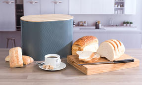 Russell Hobbs RH00290G Embossed Oval Bread Bin with Bamboo Lid, Grey / Bamboo