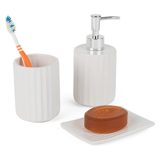 Beldray Ceramic Dolomite Set with Toothbrush Holder, Hand Soap Dispenser and Soap Dish, White Thumbnail 1