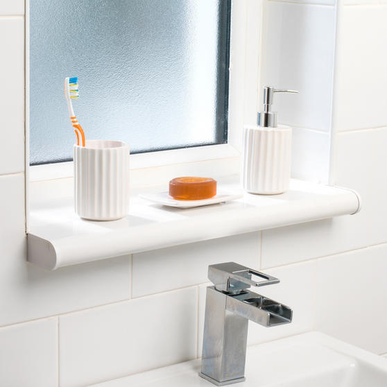 Beldray Ceramic Dolomite Set with Toothbrush Holder, Hand Soap Dispenser and Soap Dish, White Thumbnail 2