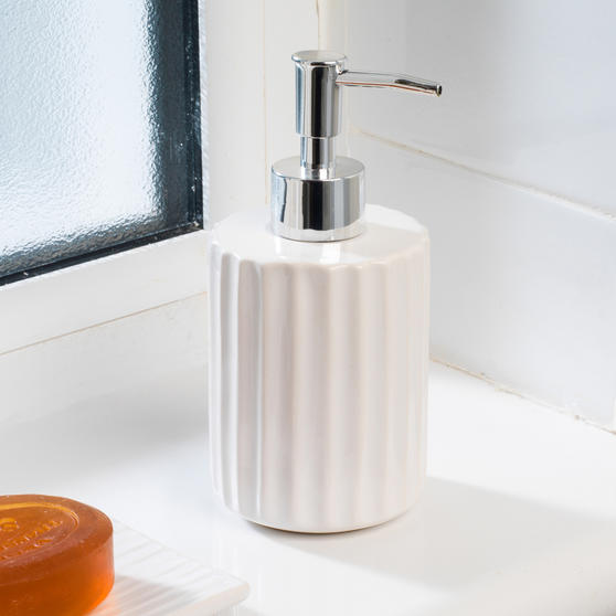 Beldray Ceramic Dolomite Set with Toothbrush Holder, Hand Soap Dispenser and Soap Dish, White Thumbnail 4