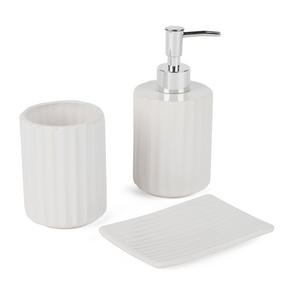 Beldray Ceramic Dolomite Set with Toothbrush Holder, Hand Soap Dispenser and Soap Dish, White Thumbnail 3