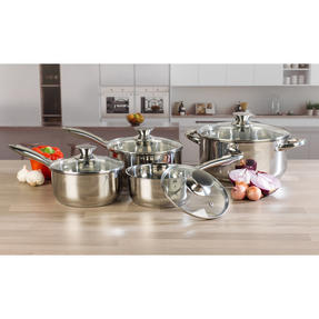 Russell Hobbs Classic Collection 4 Piece Pan Set and 24 CM Casserole Pan, Stainless Steel Thumbnail 2
