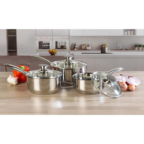 Russell Hobbs Classic Collection 4 Piece Pan Set and 24 CM Casserole Pan, Stainless Steel Thumbnail 3