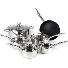 Russell Hobbs Classic Collection 6 Piece Pan Set and 28 CM Casserole Pan, Stainless Steel Thumbnail 1