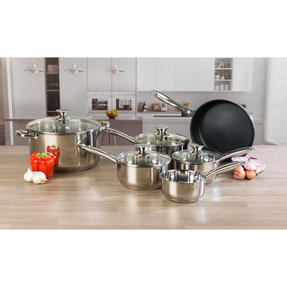 Russell Hobbs Classic Collection 6 Piece Pan Set and 28 CM Casserole Pan, Stainless Steel Thumbnail 2