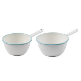 Salter Vintage Enamel Collection 3 Piece Milk Pan, Saucepan and Colander Set, Cream/Blue Thumbnail 6