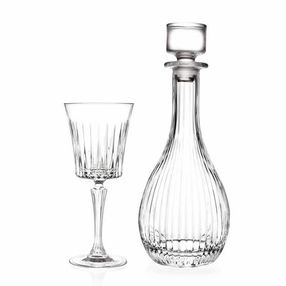 RCR COMBO-2187 Set of 6 Timeless Luxion Crystal Wine Glasses and Wine Decanter