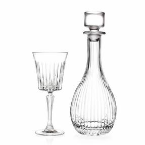 RCR COMBO-2187 Timeless Crystal Wine Glasses and Round Decanter, 7 Piece