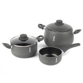 Domo COMBO-2163 Saucepan, Casserole Pan and Pasta Pot Set, 16/20/24 cm, Black Thumbnail 1