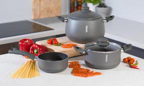 Domo COMBO-2163 Saucepan, Casserole Pan and Pasta Pot Set, 16/20/24 cm, Black Thumbnail 5