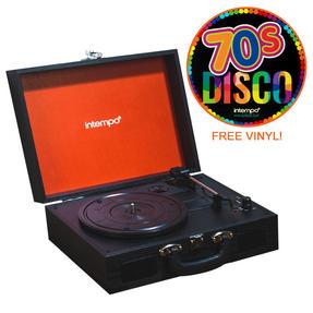 Intempo COMBO-2156 Black Wireless Bluetooth Turntable with 70s Disco Vinyl Record
