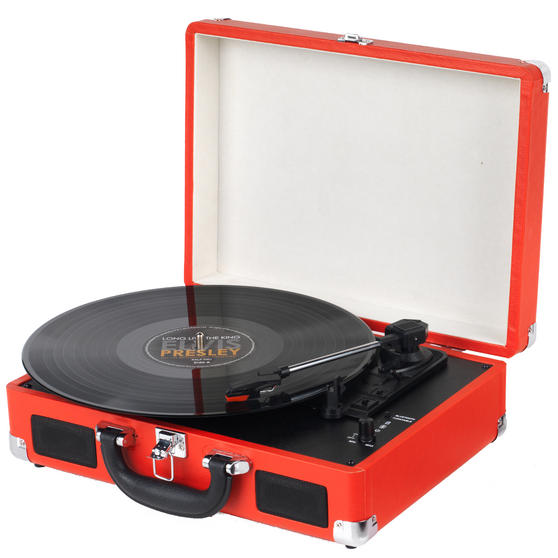 Intempo Wireless Bluetooth Retro Audio Turntable Vinyl Record Player, Red