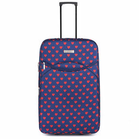 Sovereign LG00265LHEARTQDMIL Eva Suitcase, 28?, Navy with Pink Hearts