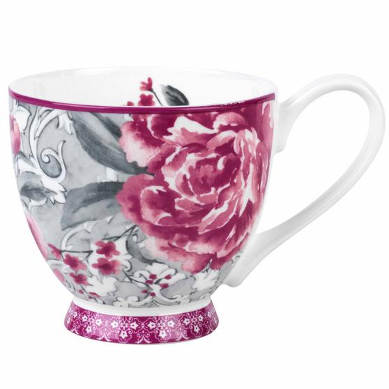 Portobello COMBO-2202 Sandringham Valentina Baroque Bone China Mugs, Set of Six