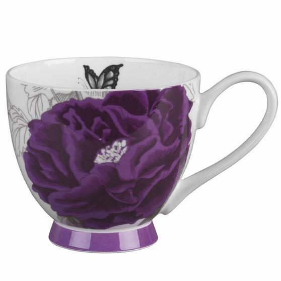 Portobello COMBO-2203 Sandringham Peony Purple Bone China Mugs, Set of 4