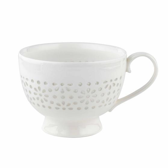 Cambridge COMBO-2206 Charlotte Sandringham Lace Porcelain China Footed Mugs, Set of 6