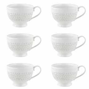 Cambridge COMBO-2206 Charlotte Sandringham Lace Porcelain China Footed Mugs, Set of 6 Thumbnail 2
