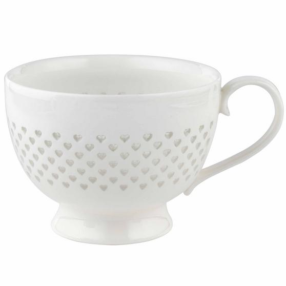Cambridge COMBO-2207 Lace Polka Hearts Porcelain China Mugs, Set of 4