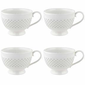 Cambridge COMBO-2207 Lace Polka Hearts Porcelain China Mugs, Set of 4 Thumbnail 2