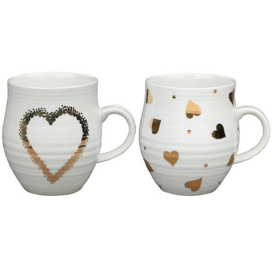 Portobello COMBO-2212 Anglesey Gold Heart Mugs, Set of 4, Cream and Gold