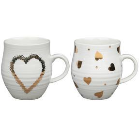 Portobello COMBO-2212 Anglesey Gold Heart Mugs, Set of 4, Cream and Gold Thumbnail 1