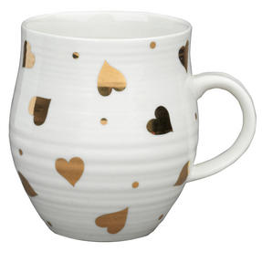 Portobello COMBO-2212 Anglesey Gold Heart Mugs, Set of 4, Cream and Gold Thumbnail 2
