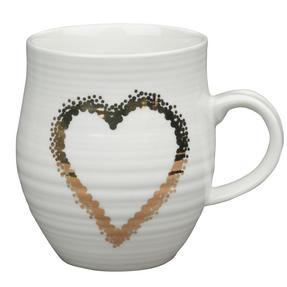 Portobello COMBO-2212 Anglesey Gold Heart Mugs, Set of 4, Cream and Gold Thumbnail 3