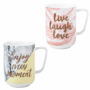 Portobello COMBO-2213 Devon Marble Bone China Mugs, Set of 4 Thumbnail 1