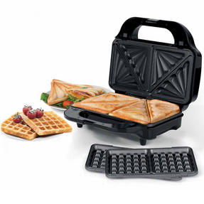 Beldray EK2143TWOBGP 2-in-1 Snack Maker with Sandwich and Waffle Plates Thumbnail 1