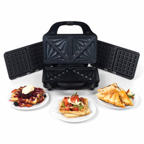 Beldray EK2143TWOBGP 2-in-1 Snack Maker with Sandwich and Waffle Plates